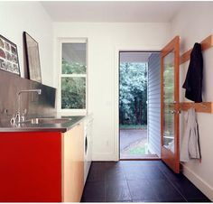 A roundup of entryways from the Remodelista Architect/Designer Directory. Above: A New York City entry by RAAD Architects. Above: A functional entryway in Mudroom Laundry Room, Laundry Room Design, Laundry In Bathroom, Laundry Area, Stainless Steel Countertops, Love Your Home, Home Repairs, Back Doors, Built In Storage