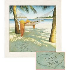 "Large Personalized Island Dreams Print: A beach hammock for two with a heart drawn in the sand-just waiting to be personalized for you. This fine art giclee is reproduced from the original watercolor by American artist Scott Kennedy. Canvas print is beautifully matted and framed in wood. Crafted in USA. Sawtooth hanger. Specify names or initials up to 9 letters/spaces per line; 2 lines only. Please allow 3 weeks for delivery. Sorry, express delivery is not available. Large: 17 1/2"" sq."