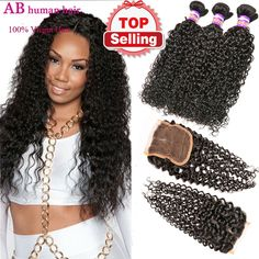 Malaysian human hair weft Afro kinky curly virgin hair bundles with lace closure unprocessed human hair weave curly hair extensions 2016