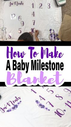 Learn how to use your Cricut EasyPress 2 to make this cute little baby milestone blanket. The EasyPress makes creating projects like this a breeze! CRICUT CRAFTING Learn how to use your Cricut EasyPress 2 to make this cute little baby milestone b Diy Guide, Baby Milestone Blanket, Milestone Blankets, Month Blanket Baby, Baby Monthly Milestones, Milestones For Babies, Cricut Craft Room, Foto Baby, Circuit Projects