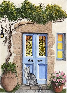 This is a print of a Greek style door that I painted with gouache on watercolor paper. The actual image is 5 x 7 on 8 x 10 paper which leaves a wide border fo Watercolor Paintings, Original Paintings, Watercolor Paper, Original Artwork, Wall Murals, Wall Art, Fence Art, Rustic Gardens, Gouache Painting