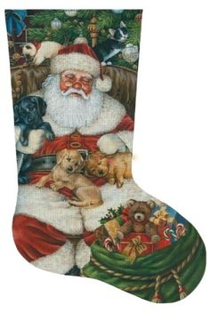 Sleeping Santa with Puppies & Kittens Stocking