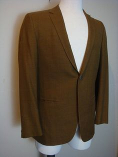 Vintage Mens Jacket 1960s/1950s Skinny Gold Wool by retrocorrect