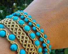 macrame set, gold+turquoise, boho handmade jewelry alternative design