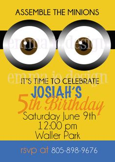 Despicable Me Minion Party Invitation
