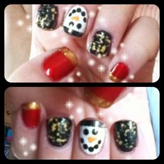 My cute holiday nail art design! First, I painted each nail with its base color. Then, I painted the tips of the red nails with a gold polish,the tip of the white nail with a black polish, and topped the dark green nails with a gold flake polish. After that, I used a dotting tool to draw the snowmans eyes/mouth and a toothpic to draw the nose. Finally, i topped the snowman with a glitterty polish and used a layer of topcoat to protect each nail. Enjoy!