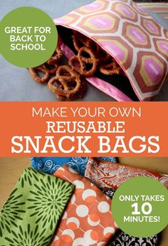 Sewing Bags Tutorial: Make Your Own Reusable Snack Bags Great for Backpackers and other Travelers.I think these are just great for life ;) - Use this reusable snack bag tutorial to help make your lunch green—no more wasting plastic wrappers or baggies! Sewing Hacks, Sewing Tutorials, Sewing Patterns, Sewing Tips, Bag Tutorials, Bags Sewing, Purse Patterns, Sewing Basics, Fabric Crafts