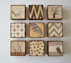 Wall Decor art block 5x5  Nine 9 Set Nature shabby chic wall art neutral gray beige brown 5x5 Geometric redtilestudio wood. $250.00, via Etsy.
