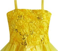 Flower Girl Dress Yellow Shinning Sequins Wedding Party Pageant Kids 2017 Summer Princess Dresses Kids Clothes Size 4-10