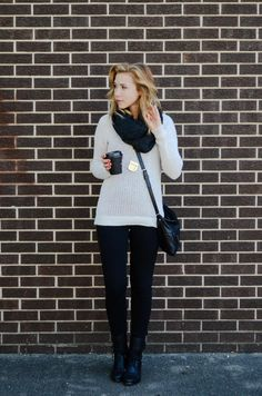 black denim / boots / scarf + winter white sweater / outfit // member Kayley of Sidewalk Ready...