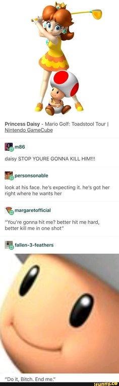 """nintendocafe Princess Daisy - Mario Golf: Toadstool Tour I Nintendo GameCube daisy STOP YOURE GONNA KILL HIM! look at his face. he's expecting it. he's got her right where he wants her """"You're gonna hit me? better hit me hard, – popular memes o. Dankest Memes, Funny Memes, Jokes, Retro Humor, Golf Humor, Gary Larson, Baguio, Anne Taintor, Lol"""