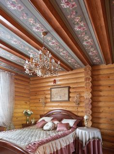 Дом из оцилиндрованного бревна под ключ-спальня