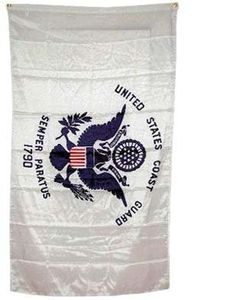 """2x3 United States Coast Guard Flag US American Flags by NationalCountryFlags. $3.14. Includes 2 Brass grommets for hanging!. Double sewn edges for durability. Brand new 2' x 3' (24"""" x 36"""") Super-Polyester US Coast Guard flag. Lightweight and great for hanging inside and out doors. The flag of the United States Coast Guard was officially adopted on January 28, 1964. It is white with a dark blue Great Seal of the United States. Inscribed in an arc above the eagle is """"UNITED STATES ..."""