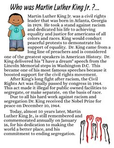 This unit includes some activities to work on learning about Martin Luther King Jr., and reflecting on his work. January 16 is MLK day, so this will work perfect for that day in the classroom!! Fully editable in case you want to make the comprehension questions harder or easier depending on grade level..