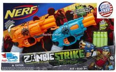 NERF Zombie Strike Doublestrike Blaster 2 Days for sale online Christmas Alphabet, 3d Christmas, Nerf Games, Cool Nerf Guns, Nerf Party, Cool Toys For Girls, Black Panther Party, Weird Cars, Backyard For Kids