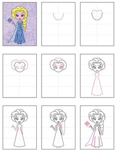 How to Draw Elsa · Art Projects for Kids - How to draw Elsa, from Frozen. Art Projects for Kids Best Picture For pro - Art Drawings For Kids, Disney Drawings, Drawing For Kids, Art For Kids, Learn Drawing, Drawing Drawing, Elsa Drawing Easy, Cartoon Drawings, Kid Art