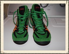 Cael JY700 Sanderson wrestling shoes green size 6 and a half Asics #AsicsCaelSanderson #AthleticSneakers