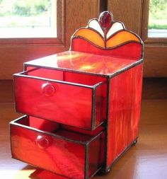 Stained glass  jewelry box / chest of drawers