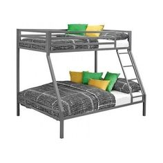 Metal Bunk Beds Twin Over Full Ladder Kids Boys Girls Furniture Bedroom Sleep