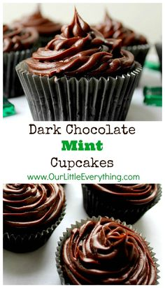 Dark Chocolate Mint Cupcakes with Chocolate Ganache Icing - easy to ...