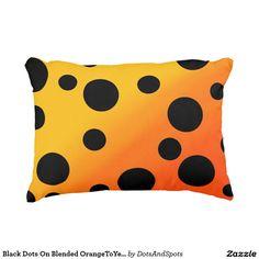 Black Dots On Blended OrangeToYellow Accent Pillow