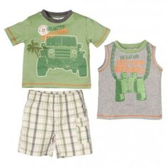Toddler Boys Jeep Tee, Tank and Plaid Shorts Set