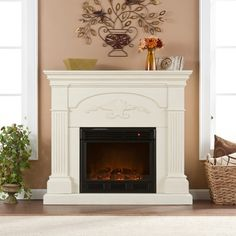 Harper Blvd Gilbert Ivory Electric Fireplace | Overstock.com Shopping - The Best Deals on Indoor Fireplaces