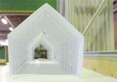 shigeru ban's pavilion for artek -a milan furniture fair 2007 - inside view of the model