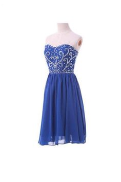 Fashional Elegat Royal Blue Sweetheart Embroidery And Beaded Short Prom Homecoming Dress, Lace Up Back Chiffon Dress ,Prom Knee Length Formal Party Dress