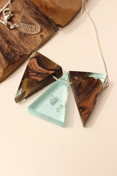 Silver necklace with wood resin pendant - handmade from Australian wood and . - Silver necklace with wood resin pendant – handmade from Australian wood and … - Resin And Wood Diy, Diy Resin Crafts, Wood Resin, Driftwood Jewelry, Wooden Jewelry, Wood Necklace, Diy Necklace, Epoxy Resin Art, Resin Jewelry Making