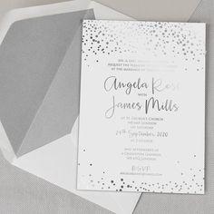 Eleganckie zaproszenia ślubne ze srebrnym nadrukiem