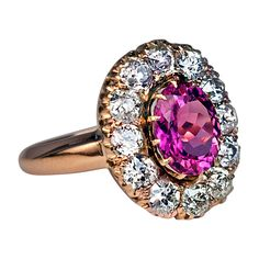 Antique Pink Tourmaline & Diamond Cluster Ring | From a unique collection of vintage cluster rings at http://www.1stdibs.com/jewelry/rings/cluster-rings/