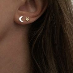 Image of Star and Moon Stud Earrings