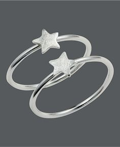 Unwritten Sterling Silver Ring Set, Stackable Star Rings