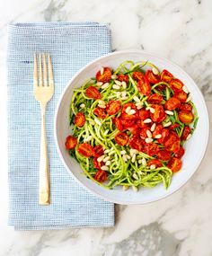 ZUCCHINI NOODLES WITH PESTO AND ROASTED TOMATOES - a house in the hills