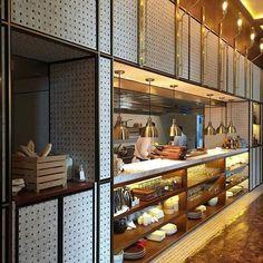 kitchen pass with storage Cafe Restaurant, Open Kitchen Restaurant, Kitchen Pass, Cafe Bar, Restaurant Interior Design, Cafe Interior, Deco Cafe, Commercial Kitchen Design, Hotel Buffet