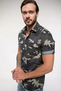 Shop & Buy Men Fashion Camouflage Pattern Stand Collar Shirts Short Sleeve Simple Shirts Men Shirt Tops- Online from Aalamey Stand Collar Shirt, Collar Shirts, Shirt Sleeves, Military Fashion, Mens Fashion, Military Shirt, Fashion Shirts, Men Shirt, Simple Shirts