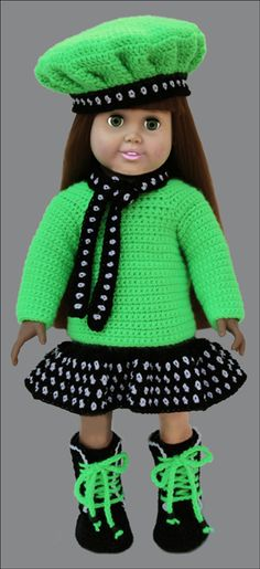 """Positively Polka Dots, American Girl 18 inch Doll crochet pattern. Your little trendsetter 18"""" doll will be outfitted for adventure in this modern outfit."""