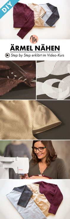 Here you learn to sew different sleeves - Ste . Here you learn to sew different sleeves – step by step explained in the video course via Makerist. Diy Clothing, Sewing Clothes, Clothing Patterns, Dress Patterns, Knitting Stitches, Knitting Patterns, Sewing Patterns, Crochet Patterns, Sewing Tutorials