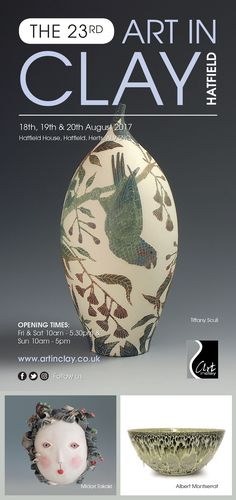 flyer for this years Art in Clay at Hatfield house showing my Musk Lorikeets & Gum tree vessel as the main image