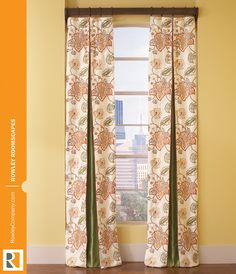Add this window treatment style to your portfolio: center box pleat panel with challenging pattern match. #workroom #rowleycompany #rowleyroomscapes #boxpleat #pleatedpanels #drapery #curtains