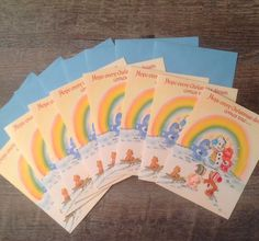 Vintage LOT of 8 Care Bears Christmas cards with coordinating blue envelopes…