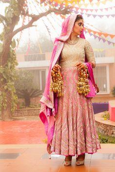 Sikh Wedding Brides - Cream and Light Pink Anarkali | WedMeGood #wedmegood #sikh #brides