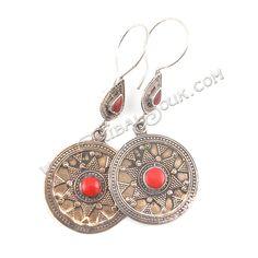 Turkoman Silver Earrings : Origin Turkoman - TribalSouk.com - Authentic Tribal Jewelry & Textiles