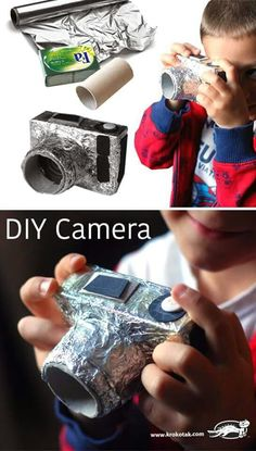 DIY Cardboard camera for kids - Do it yourself – a compact camera out of a soap packaging, an empty toilet paper roll and aluminum foil. Cardboard Camera, Paper Camera, Cardboard Crafts, Toilet Paper Roll Crafts, Diy Paper, Diy For Kids, Crafts For Kids, Camera Crafts, Soap Packaging