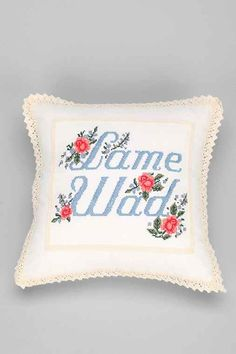 Embroider a Goodwill pillow instead of spending $39 on this one from UO.