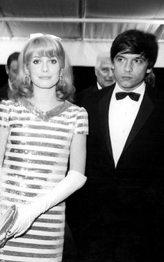 With sequins and stripes a'plenty, Catherine Deneuve was every inch the Sixties doll with first husband David Bailey in 1966