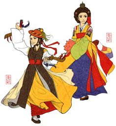 """Yeoak by Glimja.deviantart.com on @DeviantArt - """"In Joseon Dynasty, gisaengs were selected to be trained to appear on the stage in the Palace for the royal family.  These special gisaengs and their arts were called """"Yeoak(여악, 女樂)"""". It means """"the arts of Women"""".  We can usually see dancers of Joseon wearing Jeonlip and Jeonmo, holding two swords like male military officers (left), or wearing colorful Wonsam, Hansam, making their hear Eoyeo-meori like royal ladies (right)."""""""