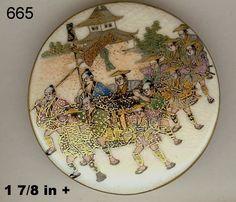 Wonderful antique Satsuma button featuring a rare scene with samurai.