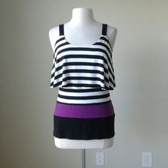 Stripe flounce knit cami top shirt RUNS BIG! Semi fitted stretch fit, 96% rayon, 4% spandex, bust 35 inches, length 26 inches White House Black Market Tops Tank Tops